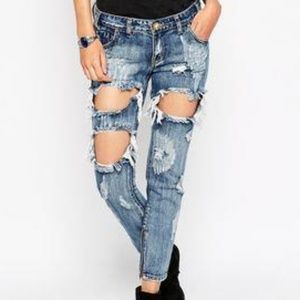 ONE TEASPOON Trashed Free Birds Cropped Jeans